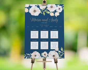 Floral Table Plan, Floral Seating Plan, Wedding Table Plan, Seating Plan, Blue Table Plan, Rose Gold Table Plan, Royal Oak Collection