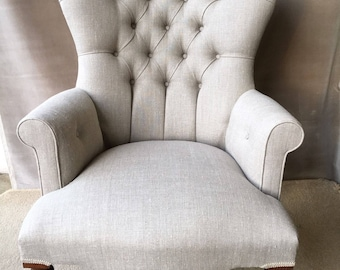 Gorgeous Chair Natural Linen Armchair Shabby Chic Beige *HANDMADE In UK*
