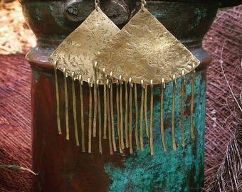 Earrings ethnic fringe - earrings - Brass ethnic earrings - hammered brass Egyptian style