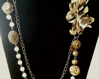After Life Accessories Hand Made: Shab Chic Rustic Chain Pearls Necklace