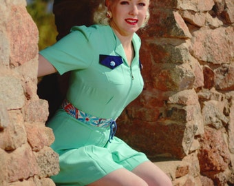Choose your belt and buttons Flirty late 1930s mint green rayon faille playsuit mint Large only Limited Edition vintage feedsack