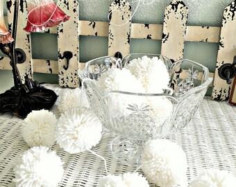 White Pom Pom Garland, Birthday Pom Poms, Baby, Bridal, Shower Garland, Birthday, Wedding White Pom Poms 8 Ft.