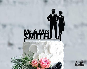 Pilot and stewardess Wedding cake topper- Customizable Wedding Cake Topper- Pilots wedding cake topper- Wedding Cake Topper- cake topper