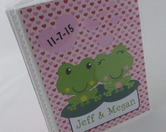 Wedding Photo Album valentines Day Engagement Photo Album Honeymoon Photo Album bridal shower gift 4x6 or 5x7 frog 295