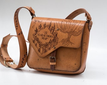 Marauder's Bag - Harry potter inspired leather bag - Marauder's Map- Hogwarts - Handmade
