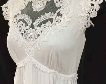 Vintage 1970's White Jersey BoHo Style Bridal Gown