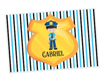Police Personalized Placemat - Police Boy Girl Shield Blue Black White Stripes with Name, Customized Laminated Placemat