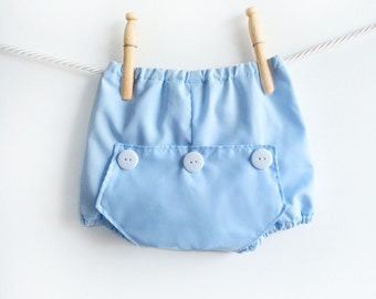 Baby Boy Diaper Covers, Boys Long John Bloomers Photo Prop, Newborn Blue Cotton Bubble Shorts Trousers, Baby Cute Gift Ideas Boy
