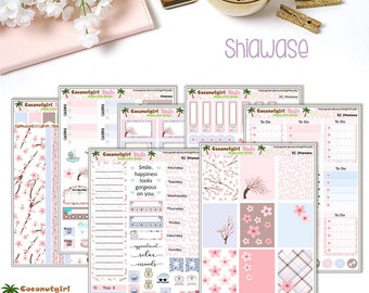 Shiawase | Cherry Blossom | Sakura | Weekly kit | planner stickers | 7 sheets