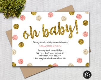 Pink and Gold Glitter Oh Baby Shower Invitation, Printable Digital Invitation,  Item #2948