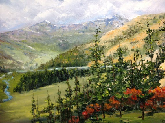 Mountain Valley Painting, Canvas Painting,  Large Oil Painting, Colorado scenery