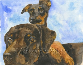 Pet Portrait Painting-Dog watercolor,  Rottweiler dog, puppy, pet art, dog art, 2 dogs painting