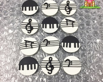 12 Music Inspired Edible Fondant Cupcake Toppers