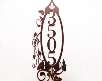 Vertical Outdoor House Number Metal Sign - 4 Digit, Copper, 9.5x24, Metal Sign, Custom Sign, Metal House Numbers