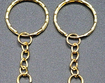 Key Rings - Key Chains - Gold Key Chains - 10 or 30 Pcs - Gold Key Rings with Chain and Ring - Key Chain Hardware - Key Ring Blanks - KC-G01