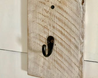 3 Rustic White Wash Coat Hooks - Home Decor - Hanging Supplies