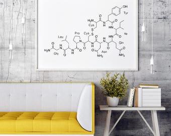 Oxytocin Molecule, Baby Shower Gift, Gift For Mom, New Mom Gift, Gift For New Mom, Baby Gift, Wall Art, Wall Print