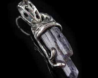 Raw Tanzanite Crystal Penadant, delicate, minimalist, natural, blue,