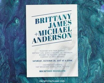 Turquoise Modern Marble Customized Printable Wedding Invitation