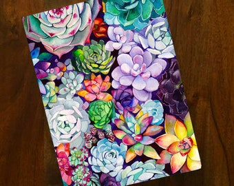 Succulent Garden Notebook - Unlined Sketchbook - Large Journal - Watercolor Illustration - Art Book -  Bullet Journal