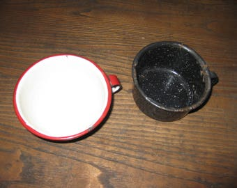 """ANTIQUE ENAMELWARE CUPS One Red and White 2 1/2"""" x 4 1/2"""" One Speckled Black and White 2 1/4"""" x 4"""""""