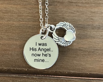 """Memorial necklace """"I Was His Angel, now hes mine"""" remembrance husband pendant necklace memorial loss of loved one"""