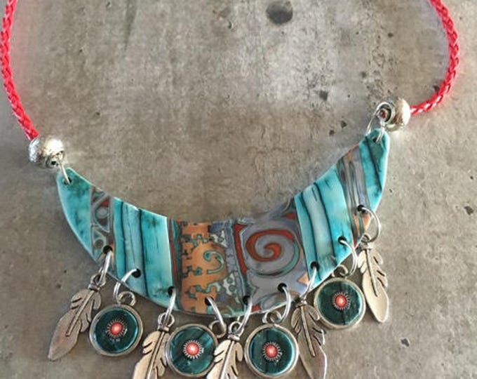 Turquoise polymer clay little choker with silver feathers