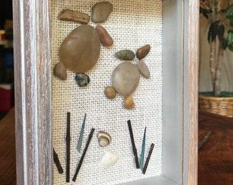 Handmade Pebble Turtles in Shadowbox
