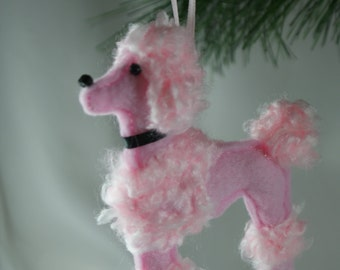 felt poodle ornament, pink poodle ornament, handmade felt ornament
