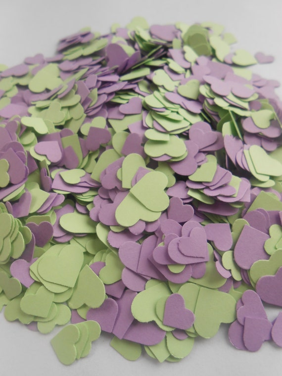 Over 2000 Mini Confetti Hearts. MINTY LAVENDER MIX. Weddings, Showers, Decorations. Or Choose Your Colors.