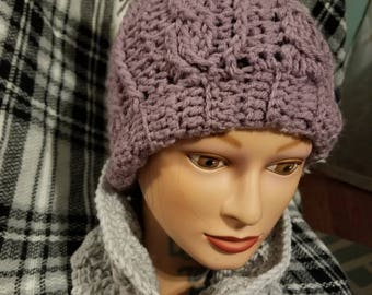 Cable Crochet Hat and Cowl Set