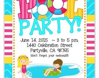 Pool Party Invitation, Pool Party Invite, Pool Birthday Invitation - custom design for YOU, 1st Birthday Invite, summer birthday