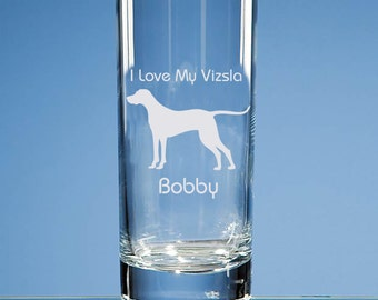 Hungarian Vizsla Dog Lover Personalised Engraved Highball Glass - Add Name and Message of Your Choice  - Birthday Gift, Dog Lover Gift