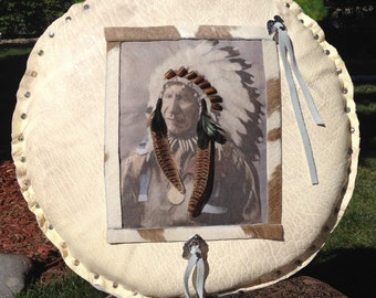 Round Leather Native American Pillow