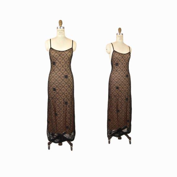 Vintage 90s Grunge Maxi Dress in Black & Nude / Black Lace Overlay Dress / Hippie Festival Dress - women's medium/large