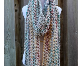 Long winter scarf, chunky long scarf, cozy long scarf, knitted long scarf, lambs wool blend, 20% wool, soft and easy to wear