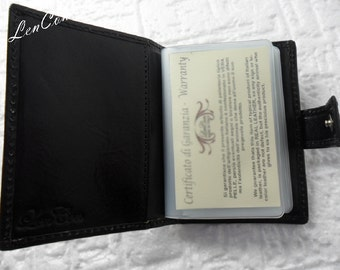 Multi Card Holder 20 Places Leather Handmade Made in Italy Handmade
