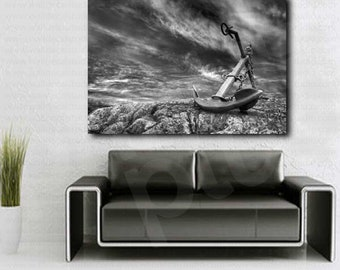 Old Anchor at a Stormy Beach Black and White Canvas Art Poster Print Wall Decor