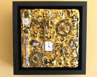 Original painting collage found object assemblage art work