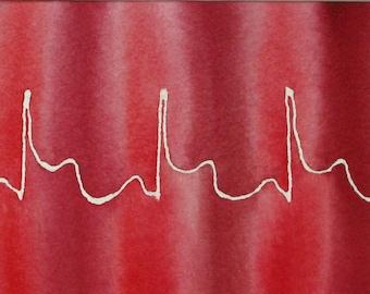 Red Heart Attack- original watercolor ekg painting