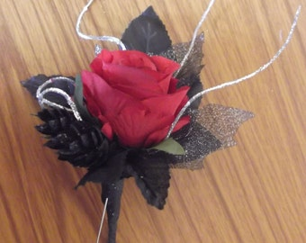 Goth Wedding Buttonhole/corsage/ lapel flower. Photos are examples! They are made to your specifications! Message me to discuss your designs