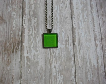 Greenery Glass Tile Pendant Necklace / Square Green Glass Dome Pendant / Gift / Green Necklace / Glass Pendant / Bright Green Tile Necklace