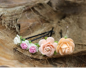 Pink Small Roses Set of 5 Mulberry Paper Flower Hair Pins , Bridal Hair Pins, Hair Bobby Pins, Prom, Bridal Hair Accessories (FL200)