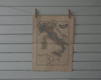 1887 Vintage Map of Italy