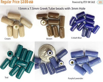 25% OFF 12 Pc 15mm Mykonos Ceramic Tube Beads, Greek cermic tube Beads, 3mm Hole, 15mm x 7.5mm, Choose Color - CF6xx
