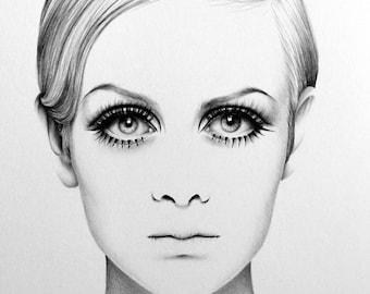 Twiggy Pencil Drawing Fine Art Portrait Signed Print