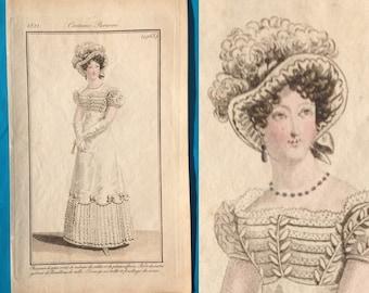 Antique 1821 Regency fashion print white petal gownCostume Parisien