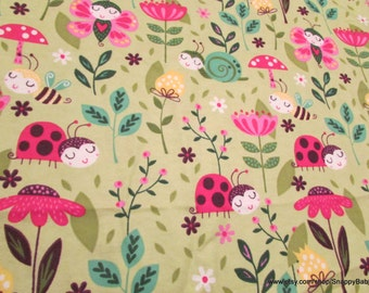 Flannel Fabric - Sweet Bugs - 1 yard - 100% Cotton Flannel
