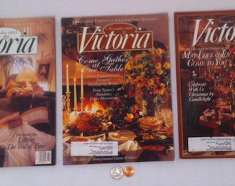 3 Vintage 1993 Victoria Magazines, October Thru December 1993, Very Interesting Ideas, Lots of Great Ideas!