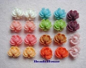 311-00-MX10-CA  20 Pcs  Mini Rose Cabochons - Mix Colour.